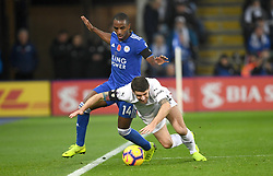 Leicester City's Ricardo Pereira (left) and Burnley's Robbie Brady battle for the ball during the Premier League match at the King Power Stadium, Leicester.