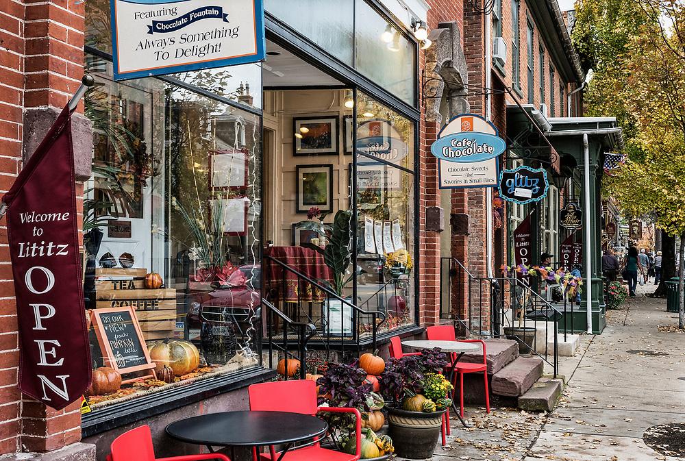 Quaint shops in autumn, Lititz, Lancaster County, Pennsylvania, USA