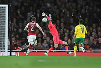 Football - 2017 / 2017 EFL (League) Cup - Fourth Round: Arsenal vs. Norwich City<br /> <br /> Josh Murphy of Norwich chips the ball over Matt Macey to score their first half goal at The Emirates.<br /> <br /> COLORSPORT/ANDREW COWIE