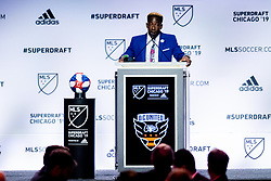 January 11, 2019 - Chicago, IL, U.S. - CHICAGO, IL - JANUARY 11: Akeem Ward is selected as the number fourteen overall pick to D.C. United in the first round of the MLS SuperDraft on January 11, 2019, at McCormick Place in Chicago, IL. (Photo by Patrick Gorski/Icon Sportswire) (Credit Image: © Patrick Gorski/Icon SMI via ZUMA Press)