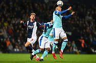 Derby County defender Lee Buchanan (26) heads the ball during the EFL Sky Bet Championship match between West Bromwich Albion and Derby County at The Hawthorns, West Bromwich, England on 14 September 2021.