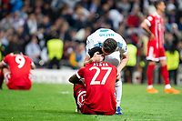 Real Madrid Nacho Fernandez and Bayern Munich David Alaba during Semi Finals UEFA Champions League match between Real Madrid and Bayern Munich at Santiago Bernabeu Stadium in Madrid, Spain. May 01, 2018. (ALTERPHOTOS/Borja B.Hojas)