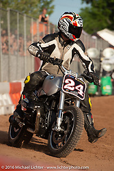 Revival Cycles' Stefan Hertel #24 Hooligan Racing on a BMW R nineT on an impromptu parking lot track at the Handbuilt Motorcycle Show. Austin, TX, USA. April 8, 2016.  Photography ©2016 Michael Lichter.
