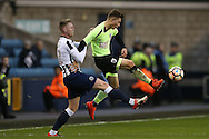 Aiden O'Brien of Millwall intercepts Jordan Lee of Bournemouth. The Emirates FA Cup 3rd round match, Millwall v AFC Bournemouth at The Den in London on Saturday 7th January 2017.<br /> pic by John Patrick Fletcher, Andrew Orchard sports photography.