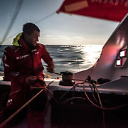 Leg 4, Melbourne to Hong Kong, day 02 on board MAPFRE, night picture, Blair Tuke triming a front sail. Photo by Ugo Fonolla/Volvo Ocean Race. 03 January, 2018.