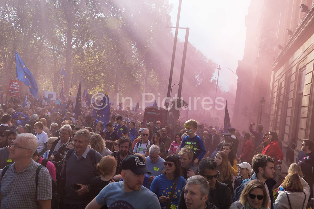The People's Vote March For The Future on 20th October 2018 in London, United Kingdom. More than 100,000 people marched on Parliament to demand their democratic voice to be heard in a landmark demonstration billed as the most important protest of a generation. As the date of the UK's Brexit from the European Union is ever closer, the protesters gathered in their tens of thousands to make political leaders take notice and to give the British public a vote on the final Brexit deal.