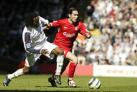 Photo: Aidan Ellis.<br /> Liverpool v Bolton Wanderers. The Barclays Premiership. 09/04/2006.<br /> liverpool's Luis Garcia and Bolton's Ricardo Gardener