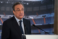 President of Real Madrid, Florentino Pérez, during the press conference of the Iker Casillas tribute at Santiago Bernabeu Stadium in Madrid. July 13. 2015.<br />  (ALTERPHOTOS/BorjaB.Hojas)