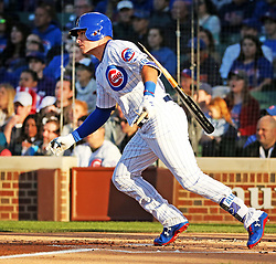 June 5, 2017 - Chicago, IL, USA - The Chicago Cubs' Albert Almora Jr. breaks his bat on a ground out during the first inning against the Miami Marlins at Wrigley Field in Chicago on Monday, June 5, 2017. (Credit Image: © Nuccio Dinuzzo/TNS via ZUMA Wire)