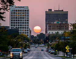 September 22, 2020; Sunset over Jefferson Blvd, South Bend, IN (Photo by Matt Cashore)