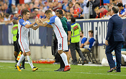 September 1, 2017 - Harrison, NJ, USA - Harrison, N.J. - Friday September 01, 2017:   Jorge Villafaña, Clint Dempsey during a 2017 FIFA World Cup Qualifying (WCQ) round match between the men's national teams of the United States (USA) and Costa Rica (CRC) at Red Bull Arena. (Credit Image: © John Todd/ISIPhotos via ZUMA Wire)