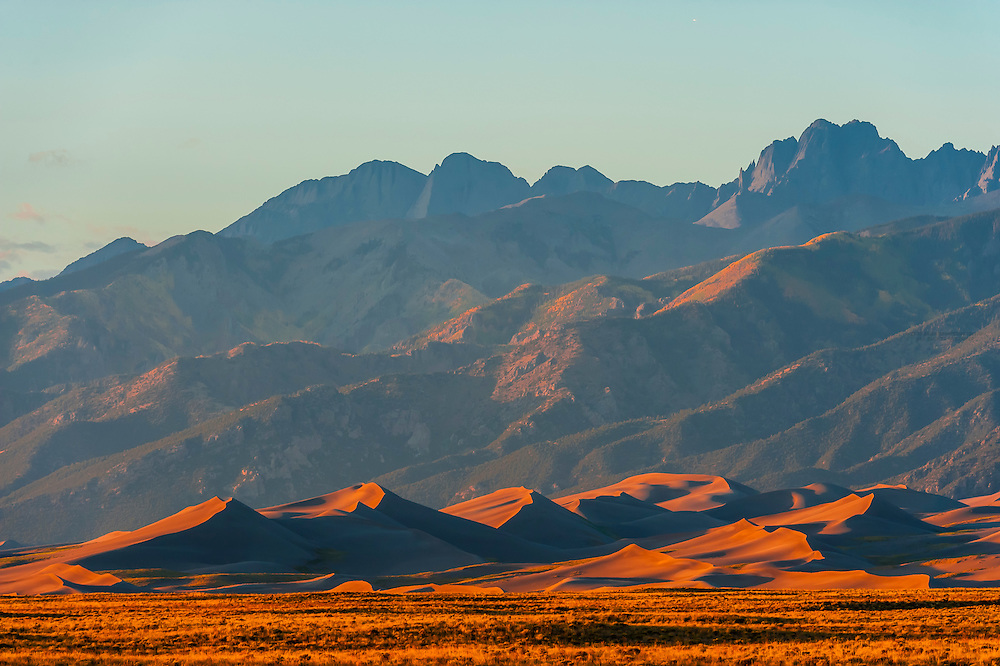 Great Sand Dunes National Park and Preserve, near Alamosa, Southern Colorado. These are the tallest dunes in North America. Sangre de Cristo Mountains in the background.