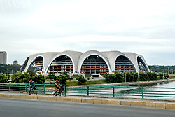 August 8, 2017 - Pyongyang, Pyongyang, China - Pyongyang, North Korea-August 8 2017: (EDITORIAL USE ONLY. CHINA OUT) The Rungrado 1st of May Stadium is a multi-purpose stadium in Pyongyang, North Korea, completed on 1 May 1989. It is the largest stadium in the world, with a total capacity of 114,000. The site occupies an area of 20.7 hectares (51 acres).  It is not to be confused with the nearby 50,000 capacity Kim Il-sung Stadium. (Credit Image: © SIPA Asia via ZUMA Wire)