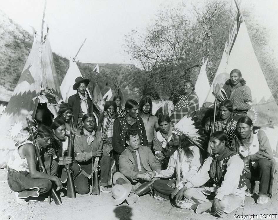 1913 Thomas Ince with Native American actors at Inceville Studios in the Santa Monica Mountains