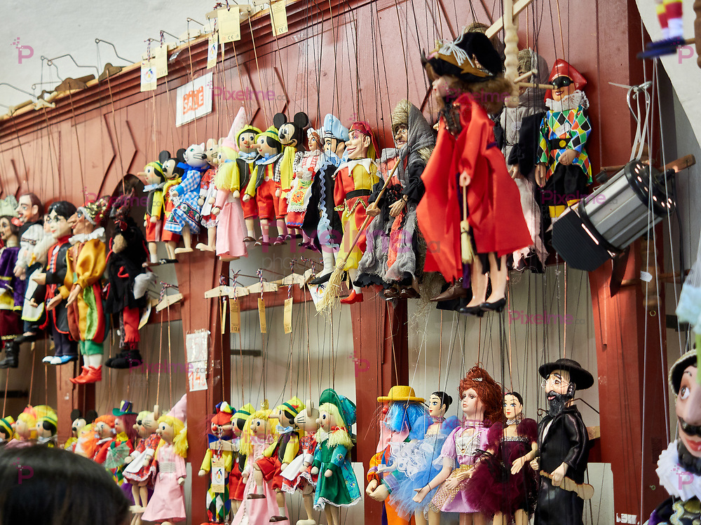 Prague, Czech Republic - October 30, 2018 Display of marionettes inside a local shop, marionettes are puppets controlled from above using wires or strings very popular in the capital of the Czech Republic