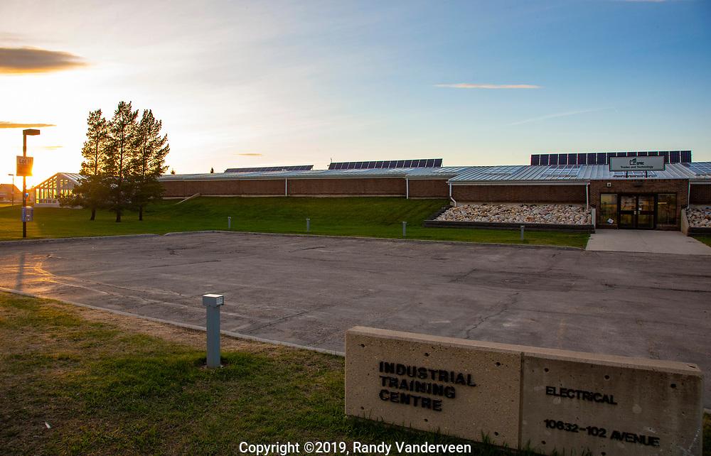 Photo Randy Vanderveen<br /> 2019-05-13<br /> Grande Prairie, Alberta<br /> Grande Prairie Regional College Trades Building on Grande Prairie campus Photographs of sites around Grande Prairie