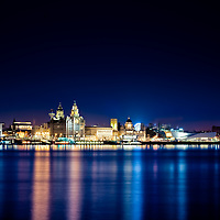 The Liverpool skyline at dusk with the Liverpool One Wheel in.