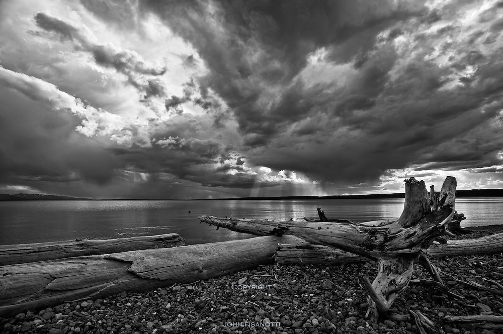 The end of a summer day at Yellowstone Lake, Yellowstone National Park, Wyoming