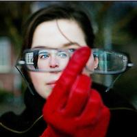 Nederland. amsterdam.30 januari 2004.<br /> klapstoel<br /> Actrice Thekla Reuten, genomineerd voor 2 Oscars voor haar rol in de speelfilm de Tweeling.<br /> foto: Jean-Pierre Jans