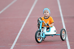 June 4, 2018 - Prague, Czech Republic - Vojta Mesk wins at the Young children race category during a paralympic race with wheelchairs at the Josef Odlozil Memorial Stadium in Prague in the Czech Republic...Vojta is very young. His start amazed the race at the Josef Odlozil Memorial Stadium in Prague...The Josef Odlozil Memorial is an annual track and field meeting which takes place in June at Stadion Juliska in Prague. (Credit Image: © Slavek Ruta via ZUMA Wire)