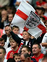 Photo: Tom Dulat.<br /> England v Estonia. UEFA European Championships Qualifying. 13/10/2007.<br /> English fan with the flag