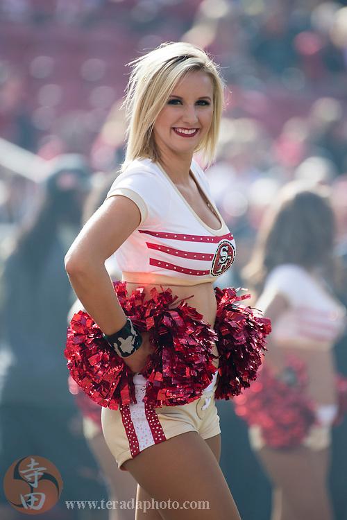 November 6, 2016; Santa Clara, CA, USA; San Francisco 49ers Gold Rush cheerleader Brooklyn before the game against the New Orleans Saints at Levi's Stadium. The Saints defeated the 49ers 41-23.