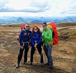 07-07-2014 ISL: Iceland Diabetes Challenge Dag 3, Hrafntinnusker<br /> Trek van Hrafntinnusker naar Aftavatn / Bas H., Henk, Marion