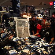 Mariano Rivera commemorative shirts selling in the Yankees shop before Mariano Rivera's last game at Yankee Stadium before his retirement during the New York Yankees V Tampa Bay Rays, American League baseball game at Yankee Stadium. Mariano Rivera is the last Major League player still wearing Jackie Robinson's No. 42. and holds the record for the number of saves in Major League Baseball. Yankee Stadium, The Bronx, New York USA. 26th September 2013. Photo Tim Clayton