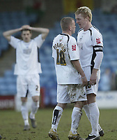 Photo: Aidan Ellis.<br /> Scunthorpe United v Swansea City. Coca Cola League 1. 18/02/2006.<br /> swansea captain Garry Monk squares up with Andy Robinson at the end of the game after conceding a late equaliser against Scunthorpe