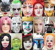 UNITED KINGDOM, London: 26 May 2019 <br /> A composite image showing the variety of characters, masks and make-up of cosplayers on the last day of MCM London Comic Con. The three day comic convention is being held at London ExCeL from Fri 24th - Sun 26th of May.