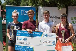 Maja Makoric, Matic Spec, Miha Velicki and Nika Kozar after finals of Drzavno prvenstvo v tenisu za clane in clanice, on June 27th, 2019 in Maribor, Slovenia. Photo by Milos Vujinovic / Sportida