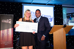 Michael Caines presents a cheque to a representative of Exeter Athletic Club - Ryan Hiscott/JMP - 06/08/2018 - RUGBY - Sandy Park - Exeter, England - Exeter Chiefs Season Launch Dinner