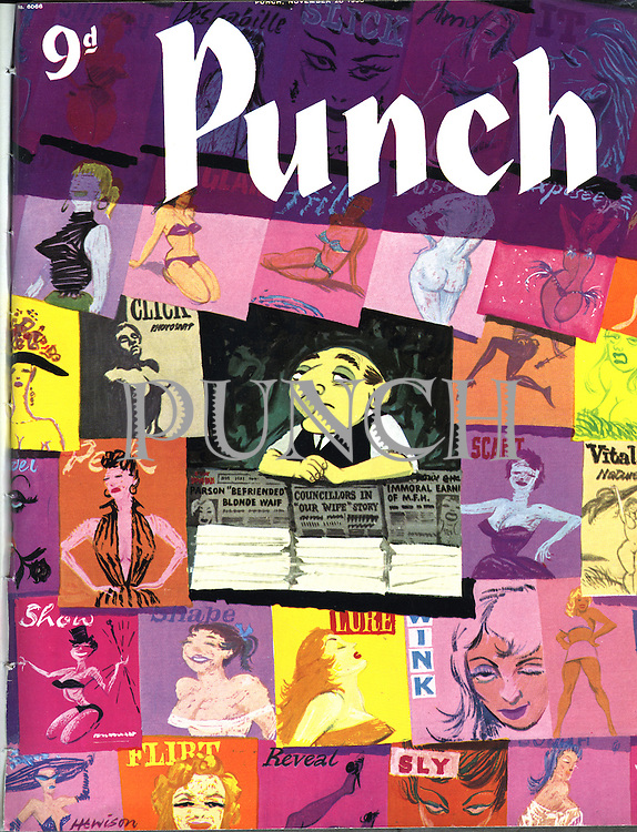 (Mister Punch at a newsstand selling magazines with scantily clad women on their covers) Punch, 28 November 1956