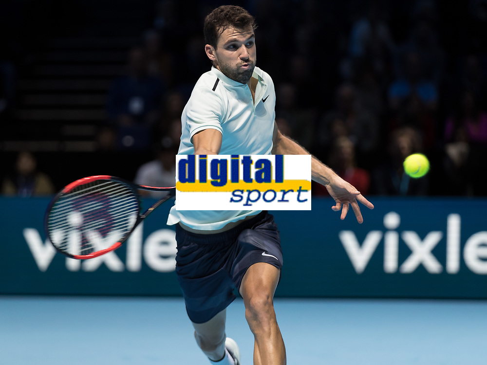 Tennis - 2017 Nitto ATP Finals at The O2 - Day Seven<br /> <br /> Semi Finals: Grigor Dimitrov (Bulgaria) Vs Jack Sock (United States)<br /> <br /> Grigor Dimitrov (Bulgaria) races across the baseline to return with a forehand at the O2 Arena <br /> <br /> COLORSPORT/DANIEL BEARHAM
