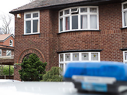 © Licensed to London News Pictures . 13/02/2014 . Manchester , UK . GV of the house . Police at the home of Anil Khalil Raoufi (aka Abu Layth ) at 78 Brooklawn Drive in Didsbury , Manchester today (13th February 2014) . Raoufi , a British Muslim , is reported to have been killed in fighting in Syria . Photo credit : Joel Goodman/LNP