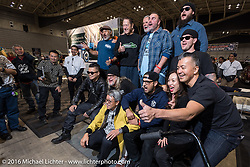 Invited guests pose with Mooneyes' Shige Suganuma for the media after the grand entry of invited builders into the Mooneyes Yokohama Hot Rod & Custom Show at the Pacifico exhibition hall. Yokohama, Japan. December 3, 2016.  Photography ©2016 Michael Lichter.