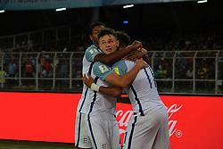 October 8, 2017 - Kolkata, West.Bengal, India - England mid fielder Jadon Sancho enjoys after scoring his 2nd goal during the FIFA u17 World Cup. (Credit Image: © Sandip Saha/Pacific Press via ZUMA Wire)