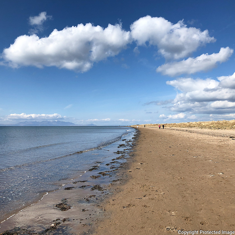 Approaching Troon with Arran on the horizon, Ayrshire, Scotland.