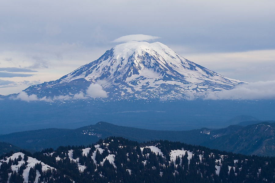View of Mount Adams from Goat Rocks Wilderness, Washington.