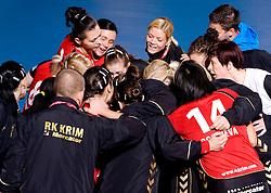 Players of Krim at handball match of Round 3 of Champions League between RK Krim Mercator and Hypo Niederosterreich, on November 8, 2009, in Arena Kodeljevo, Ljubljana, Slovenia.  Krim won 35:24. (Photo by Vid Ponikvar / Sportida)