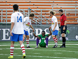 27 June 2015. New Orleans, Louisiana.<br /> National Premier Soccer League. NPSL. <br /> Jesters 1- Georgia Revolution 5.<br /> The New Orleans Jesters lose 1-5 to the Georgia Revolution in a lightning delayed game at home in the Pan American Stadium. <br /> Photo©; Charlie Varley/varleypix.com