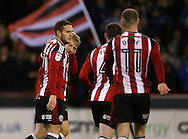 Mark Duffy of Sheffield Utd celebrates his second goal with Billy Sharp of Sheffield Utd during the English League One match at Bramall Lane Stadium, Sheffield. Picture date: December 10th, 2016. Pic Simon Bellis/Sportimage