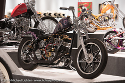 Aki Sakamoto's Hog Killers' Snake Charmer custom 1982 Harley-Davidson Shovelhead in Michael Lichter's Skin & Bones tattoo inspired Motorcycles as Art show at the Buffalo Chip Gallery during the annual Sturgis Black Hills Motorcycle Rally. SD, USA. August 10, 2016. Photography ©2016 Michael Lichter.