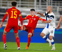 HELSINKI, FINLAND - Thursday, September 3, 2020: Wales' Dylan Levitt (L) and Finland's Teemu Pukki during the UEFA Nations League Group Stage League B Group 4 match between Finland and Wales at the Helsingin Olympiastadion. (Pic by Jussi Eskola/Propaganda)