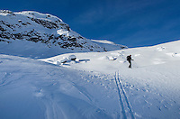 Backcountry ski touring in Upper Marriott Basin in winter, Coast Mountains British Columbia