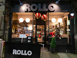Edinburgh, Scotland, UK. 14 December 2020. City of Edinburgh controversially remains in Level 3 of lockdown meaning bars and restaurants must close at 6pm and not sell alcohol. Most bars have chosen to remain closed, Tuesday will see Scottish Government announce if the city will relax lockdown to level 2 or remain at level 3. Pic; Rollo bistro on Broughton Street. Iain Masterton/Alamy Live News