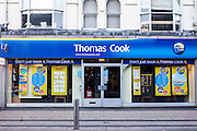 Thomas Cook shop front in Middlesborough town centre, North Yorkshire, United Kingdom.