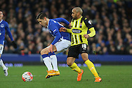 Muhamed Besic of Everton shields the ball from Ashley Chambers of Dagenham & Redbridge. The Emirates FA cup, 3rd round match, Everton v Dagenham & Redbridge at Goodison Park in Liverpool on Saturday 9th January 2016.<br /> pic by Chris Stading, Andrew Orchard sports photography.