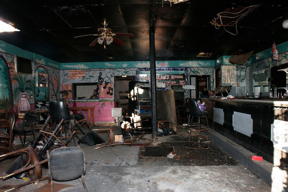 New Orleans, Louisiana. United States. February 28th 2006..Seal's Hideaway Restaurant Bar, 1507 Basin Sreet, devastated by hurricane Katrina.