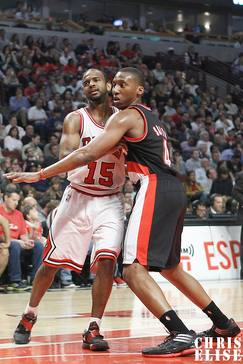 16 March 2012: Portland Trail Blazers guard Nolan Smith (4) defends on Chicago Bulls point guard John Lucas III (15) during the Portland Trail Blazers 100-89 victory over the Chicago Bulls at the United Center, Chicago, Illinois, USA.